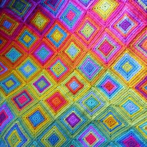 Boho Rainbow Squares Blanket