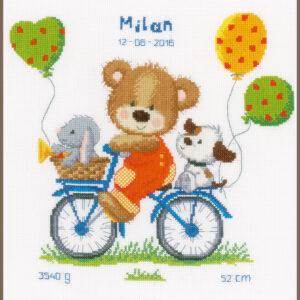 Geboortetegel fietsend beertje (pn-0156359)