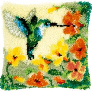 Knoopkussen kit Kolibri met bloemen (PN-0146770)